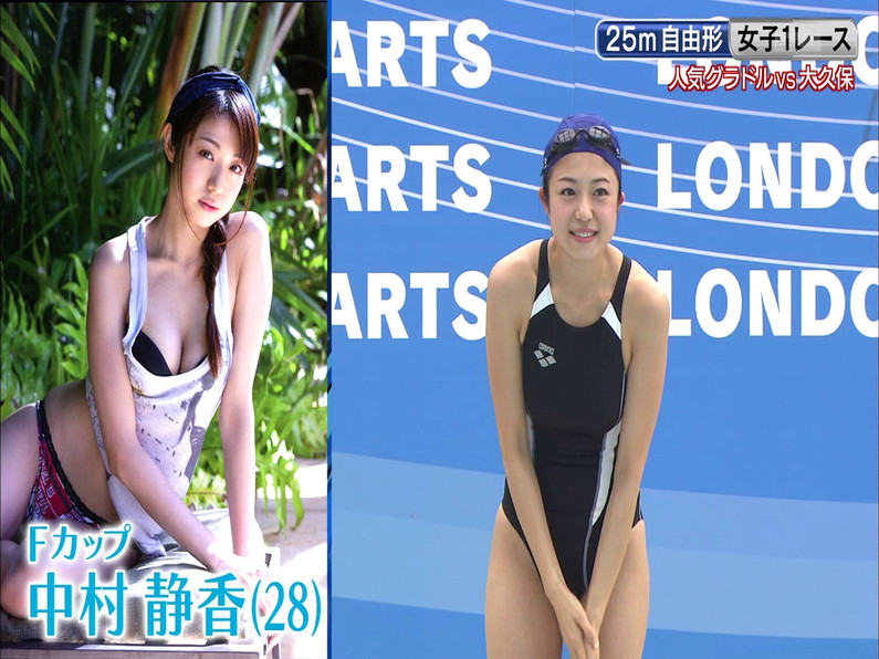 【お宝キャプ画像】ロンドンハーツの水泳大会で競泳水着が食い込みまくってやばいことにww