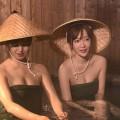 【温泉キャプ画像】美人タレントの谷間が気になる温泉レポがめちゃエロw