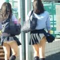 【パンチラエロ画像】神風によりJKのスカートがふわりとめくれ上がった瞬間これほど風に感謝することないよなw