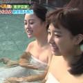 【温泉キャプ画像】エロ目線でしか見れないハミ乳させながら温泉レポするタレント達w